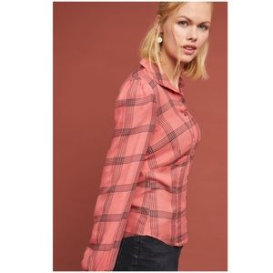 Anthropologie New Structured Plaid Buttondown Top
